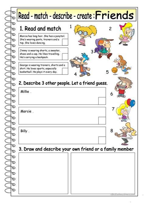 read match describe create friends  worksheet