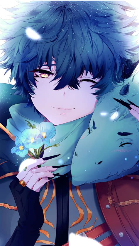 wallpaper anime boy dragon blue flowers  anime