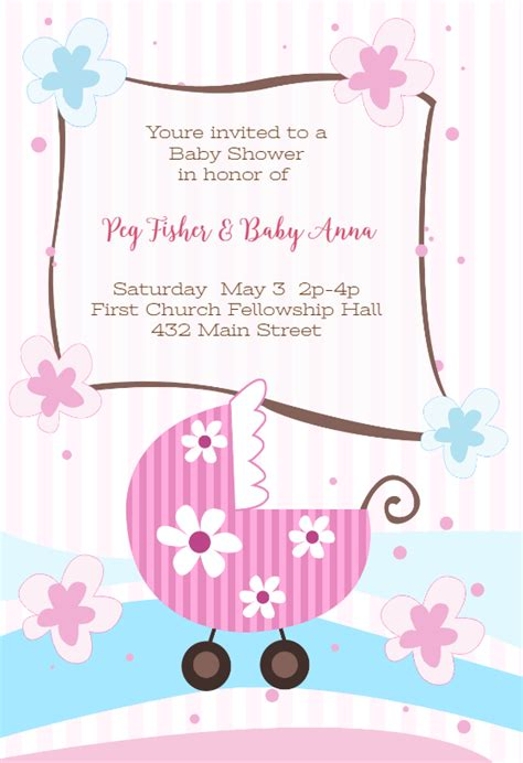 baby girl baby shower invitation template