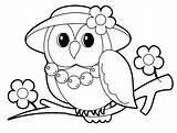 Coloring Animal Pages Owl Mrs sketch template