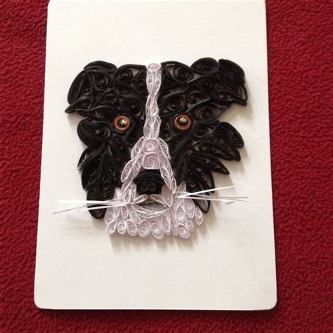 quilled border collie dog  blank greeting  note card