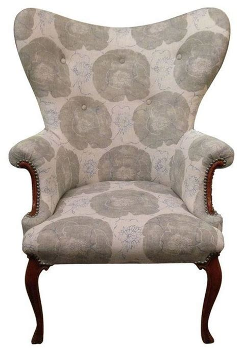 vintage butterfly wing back chair in floral linen modern