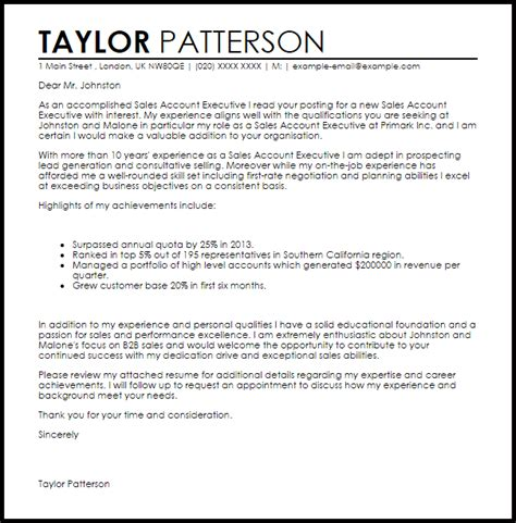 sales account executive cover letter sample cover letter