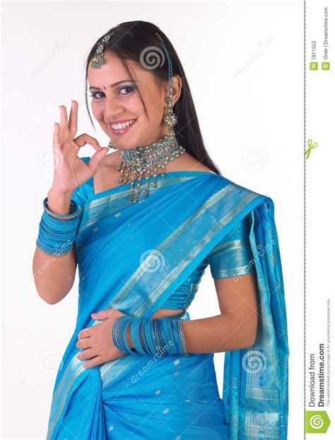 Indian Girl In Sari Saying Excellent Stock Photography