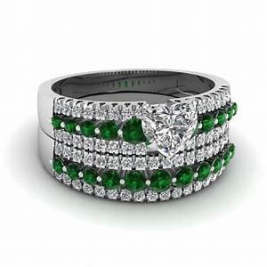 triple row heart diamond wedding ring set with emerald in With emerald wedding ring sets