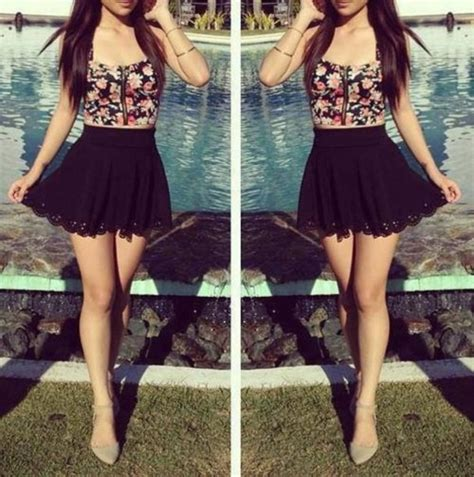 Skirt bandeau floral black cute lovely girly shirt dress tank top top blouse bustier ...