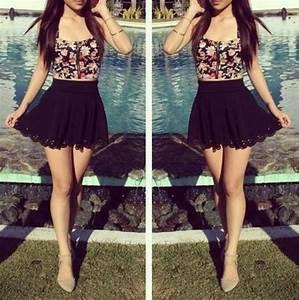 skirt bandeau floral black cute lovely girly shirt dress ...