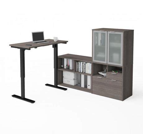 bureau hauteur ajustable bestar i3 plus bureau en l à hauteur ajustable avec huche
