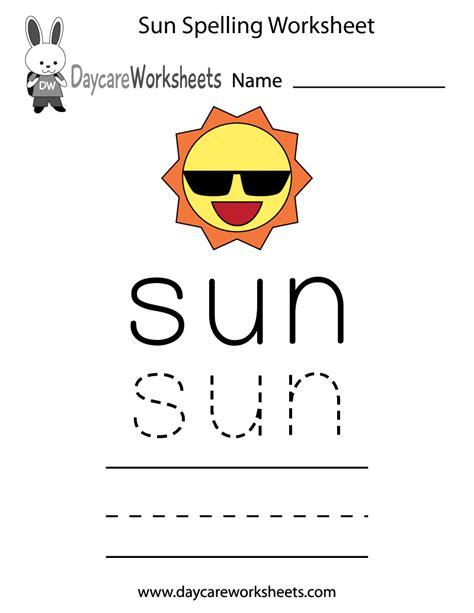 Free Preschool Sun Spelling Worksheet