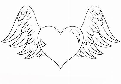 Coloring Pages Adults Heart Hearts Winged