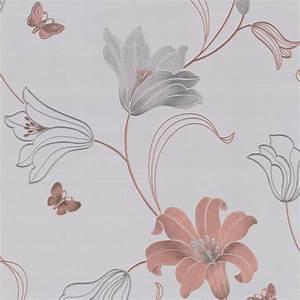 Muriva Couture Amelia Floral Vinyl Wallpaper - 701410 ...