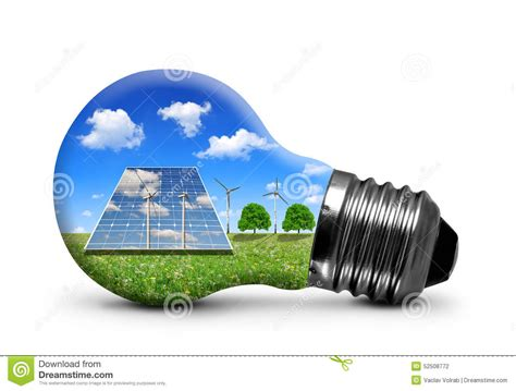 solar panels and wind turbines in light bulb stock