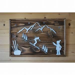 Tableau En Bois Décoration : tableau design en bois style chalet hiver montagne ski ~ Teatrodelosmanantiales.com Idées de Décoration
