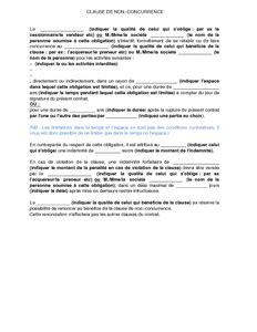 mod 232 le de clause de non concurrence dans le cadre de relations commerciales mod 232 le de lettre - Clause De Non Concurrence Exemple