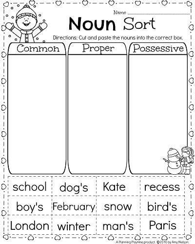 Grammar, possessive nouns, languagearts worksheet for grade 4. 1st Grade Math and Literacy Printables - February | Nouns ...