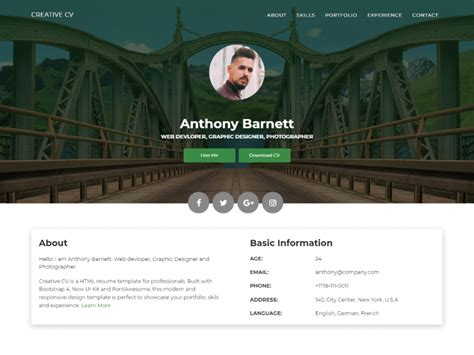 Resume Website Free by 21 Professional Html Css Resume Templates For Free