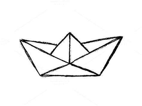 Origami Boat Drawing by Origami Paper Boat Pencil And In Color