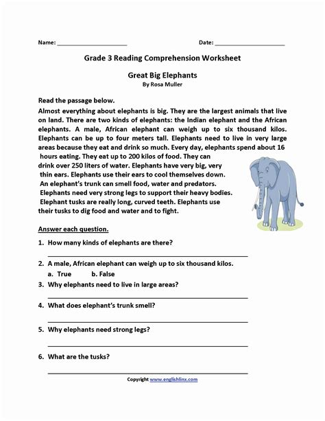 grade 3 reading comprehension worksheets pdf inspirational