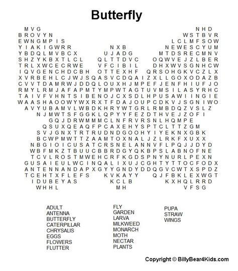 billybearkidscom butterfly worksheets  kids word puzzles kids worksheets printables