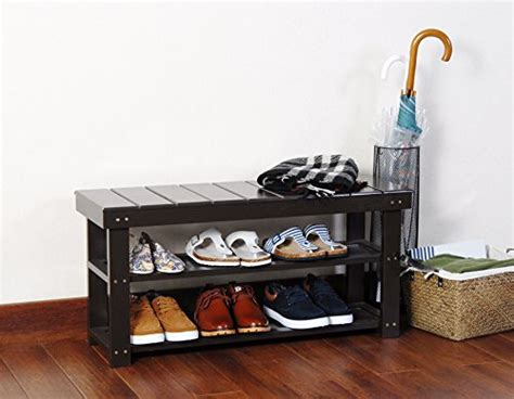 Espresso Finish 2-tier Solid Wood Storage Shoe Bench Shelf Fire Pit Reviews Sunken Ideas Outdoor Fireplace Diy Patio Set Table Ethanol Target Copper Charcoal Grill