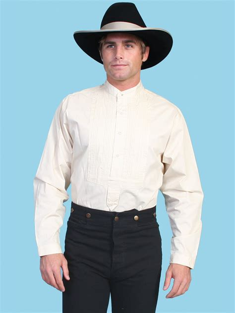 scully mens banded collar western tuxedo shirt