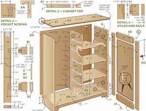 Construction plans and parts list to build cabinets Run of