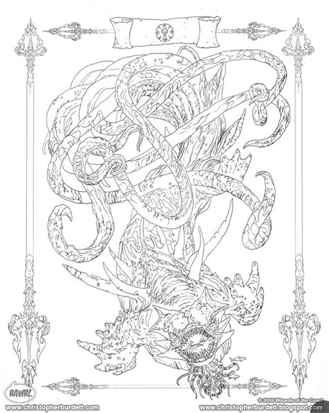 dungeons and dragons coloring book the doodles designs and of christopher burdett