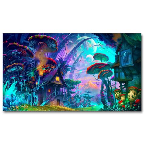 aliexpress buy nicoleshenting mushrooms house psychedelic trippy silk fabric poster
