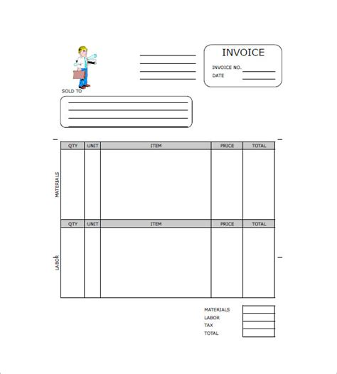 contractor invoice template   word  format