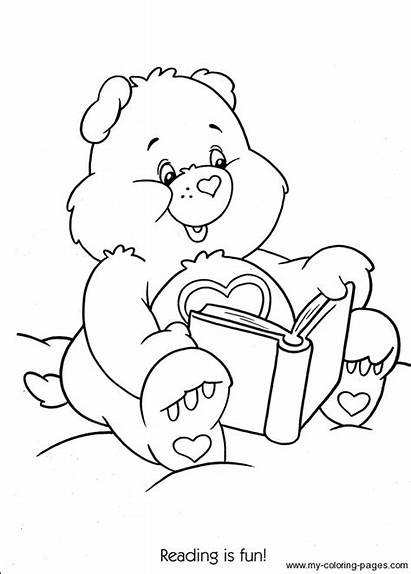 Coloring Fun Care Bears Reading Printable Ursinho