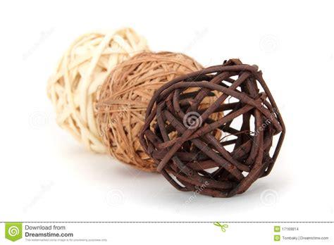 Decorative Orbs Wood Metal Ball Rustic Home Decor Spheres: A Decorative Wicker Wooden Balls Stock Photo