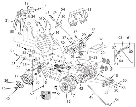 Jeep Exploded Diagram by Power Wheels Jeep Wrangler Parts