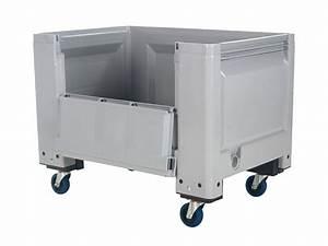Box Mit Rollen : big box kunststoff palettenbox 1200 x 800 mm mit scharnierklappe auf rollen ~ Markanthonyermac.com Haus und Dekorationen