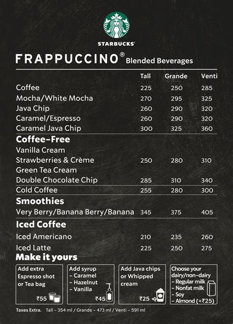 Starbucks secret menu how many drinks have you tried people com. Starbucks Menu, Menu for Starbucks, Galleria Market, Gurgaon, Delhi NCR