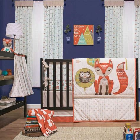 fox crib set clever fox 5 baby crib bedding set with bumper by