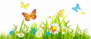 Grass Ground with Flowers and Butterflies PNG Clipart ...