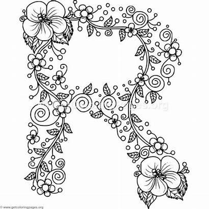 Coloring Pages Alphabet Floral Adult Letter Letters