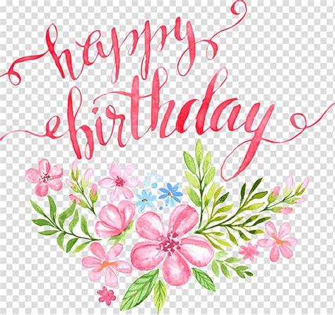 birthday calligraphy greeting card illustration flowers