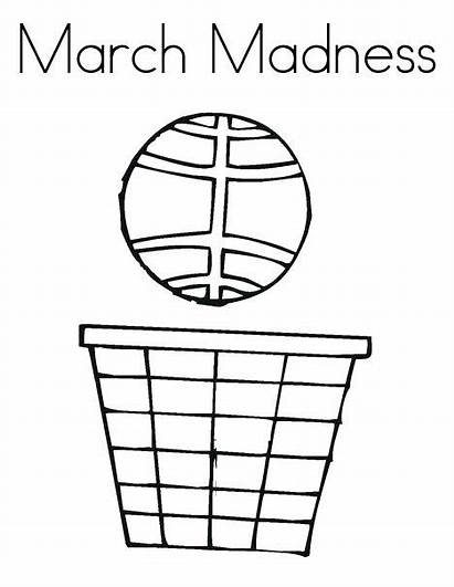 Coloring March Madness Pages Basketball Template Twistynoodle