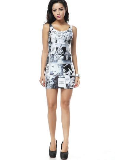funny cartoon print mini sleeveless dress sleeveless
