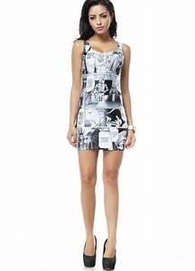 00 Size Chart Funny Cartoon Print Mini Sleeveless Dress Sleeveless