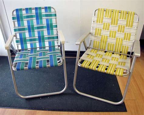 webbed lawn chairs folding aluminum pair retro vtg vintage folding aluminum lawn chair webbed