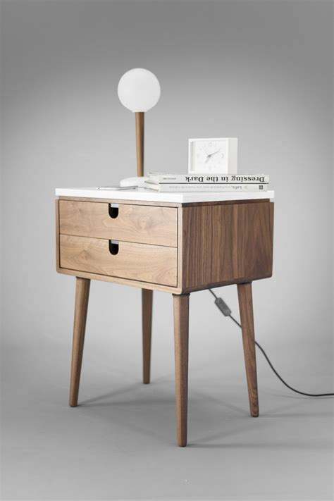 nightstand bedside table   drawers  solid walnut