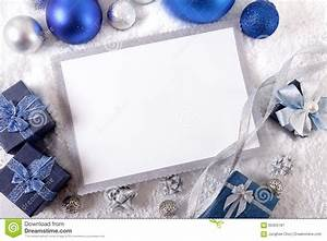 Blue Christmas Card Background With Decorations And Copy ...