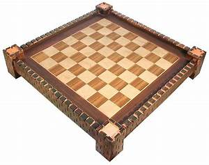 Wooden Chess Board with Medieval Fortress Design