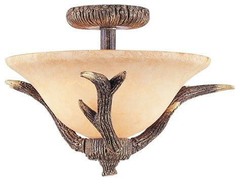 antler semi flushmount 17 quot wide ceiling light fixture