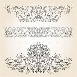 Collection of floral vintage design elements Royalty Free ...