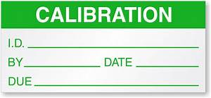 Calibration id by date due label for Calibration stickers template