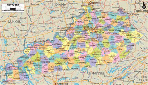 political map  kentucky ezilon maps
