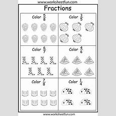 Coloring Fractions  5 Worksheets  Worksheets Doodles